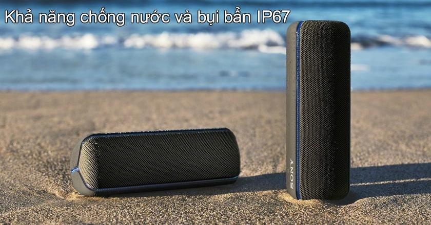 SRS-XB32 Extra Bass cũng được trang bị khả năng chống nước và bụi bẩn IP67