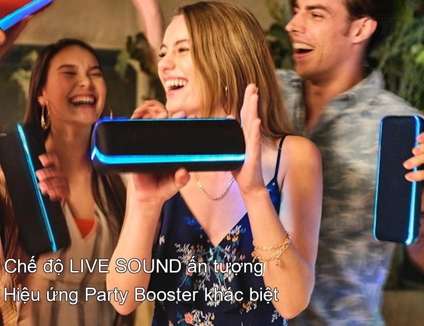 Chế độ LIVE SOUND và hiệu ứng Party Booster cho trải nghiệm âm thanh khác biệt